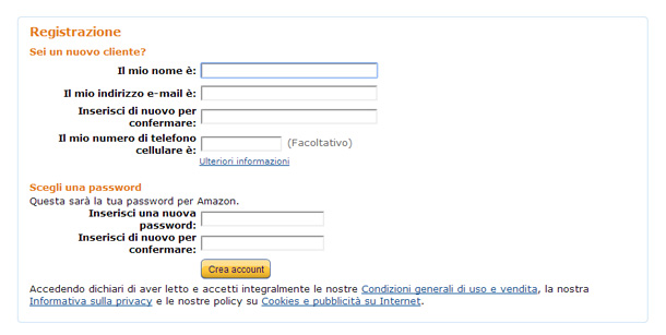 Come registrarsi su amazon for Cassettiere su amazon