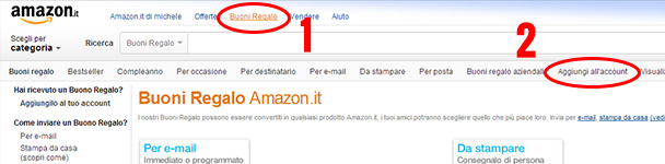 Come inserire buono regalo amazon for Codici regalo amazon