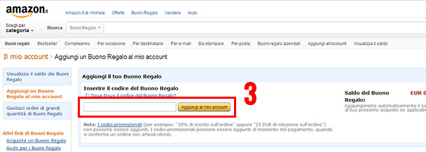 Come inserire buono regalo amazon for Regalare buono amazon