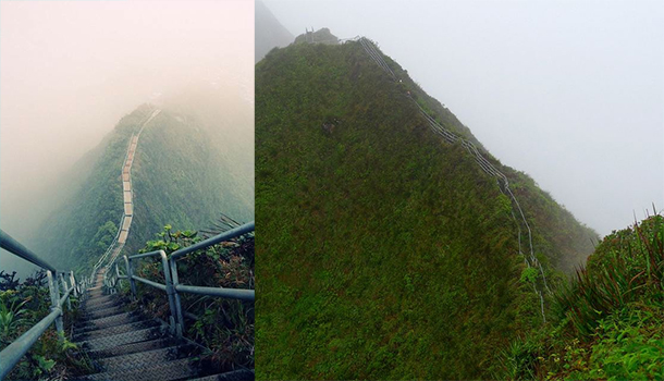 Le scalinate più ripide del mondo-La-scala-di-Haiku,-Oahu,-Hawaii