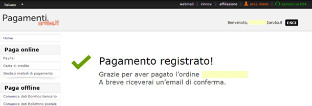 acquistare-dominio-wordpress-aruba-pagamento-registrato